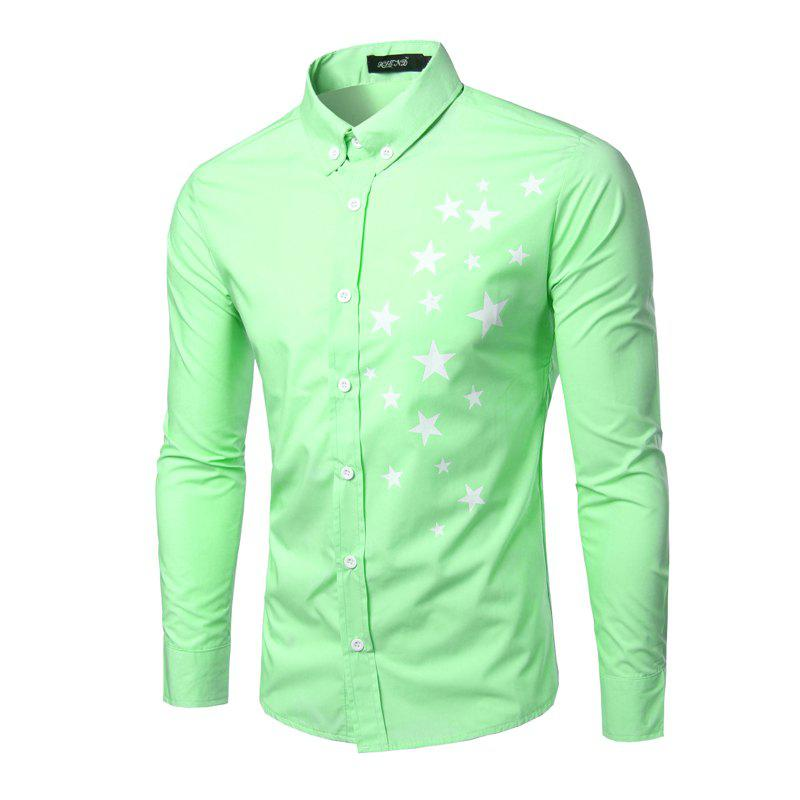 Fashion Turn Down Collar Long Sleeves Star Printing Shirt For MenMen<br><br><br>Size: 2XL<br>Color: LIGHT GREEN