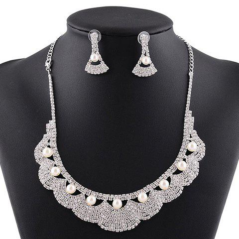 A Suit of Faux Pearl Rhinestoned Necklace and Earrings -  SILVER