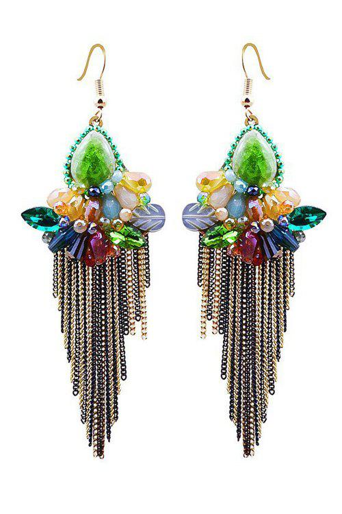 Pair of Faux Crystal Flower Fringed Earrings - COLORMIX
