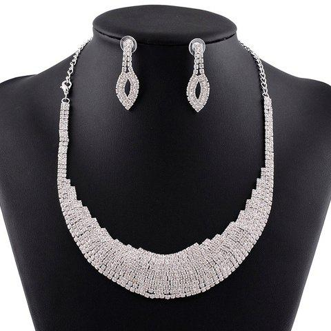 A Suit of Stunning Rhinestoned Hollow Out Necklace and Earrings For Women
