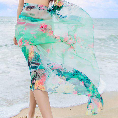 Chic Flowers Painting Printed Women's Chiffon Sarong