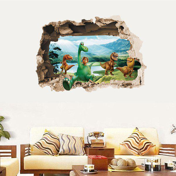 High Quality Dinosaur Pattern Broken Wall Shape 3D Removeable Wall Sticker - COLORMIX