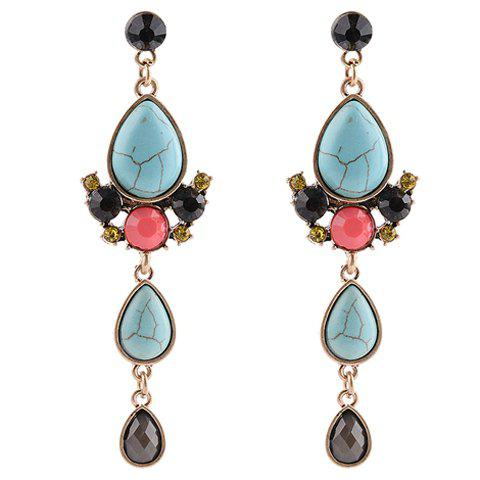 Pair of Vintage Faux Turquoise Artificial Gem Water Drop Earrings For Women