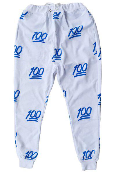Sports Style Number Printed Narrow Feet Lace Up Jogging Pants For Men - BLUE/WHITE M