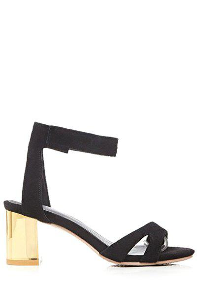 Simple  and Chunky Heel Design Sandals For Women - BLACK 34