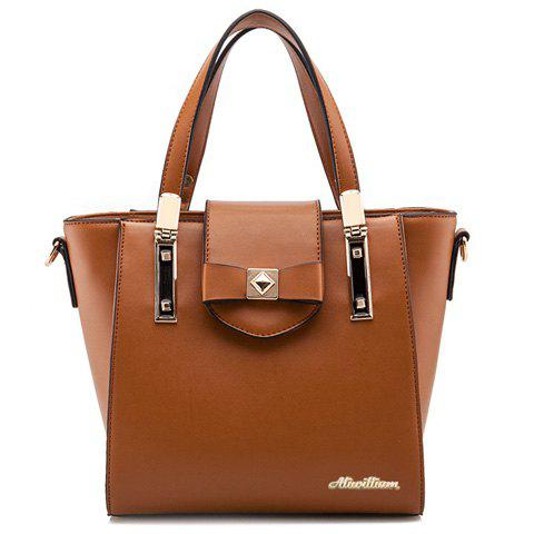 Elegant Bowknot and PU Leather Design Tote Bag For Women - BROWN