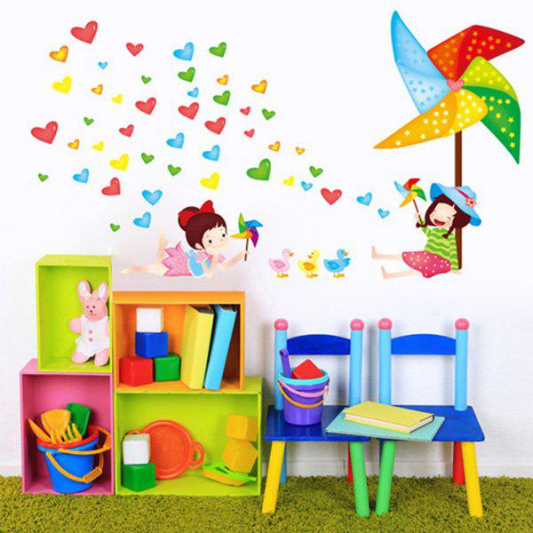 High Quality Cartoon Windmill Pattern Removeable Background Wall Sticker For Children's Room