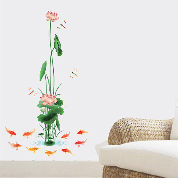 High Quality Chinese Style Colorful Lotus Pattern Removeable Wall Stickers colorful cartoon forest pattern removeable wall stickers