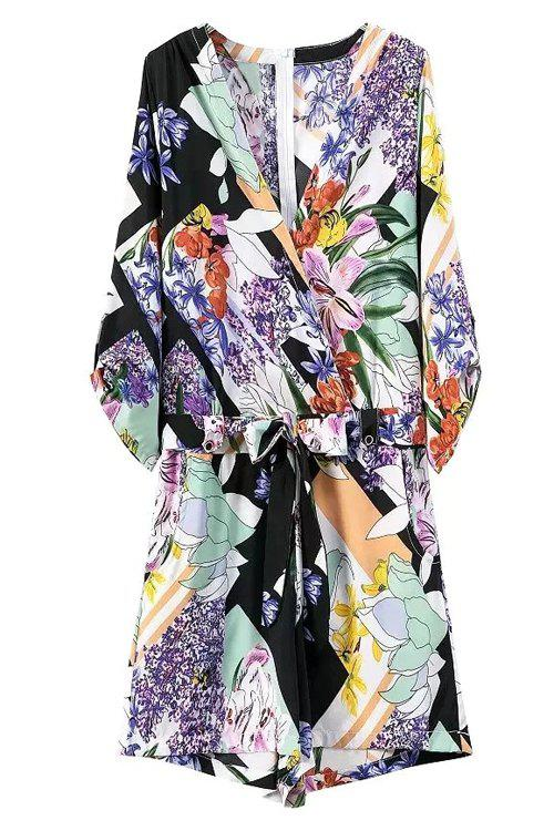 Stylish V Neck 3/4 Sleeve Floral Print Women's Romper - BLUE M