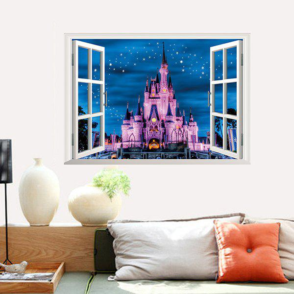High Quality Castle Pattern Window Shape Removeable 3D Wall Sticker 12pcs high quality butterfly shape removeable 3d wall sticker