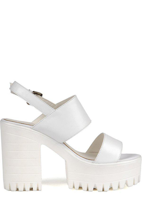 Stylish Platform and Chunky Heel Design Sandals For Women - WHITE 38