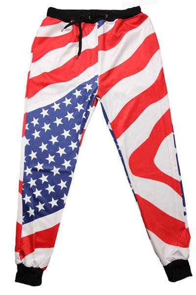 Men's Sports Style Flag Printed Narrow Feet Lace Up Jogging Pants - COLORMIX L