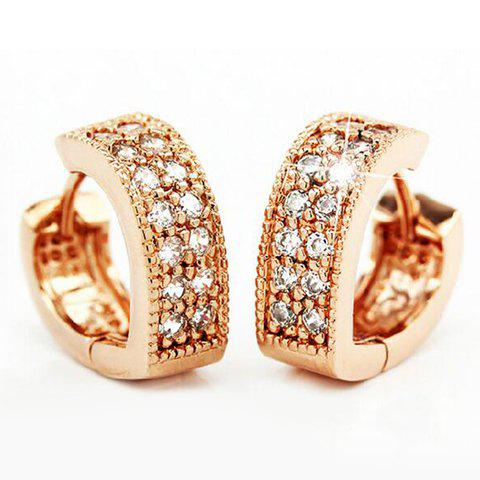 Pair of Heart Rhinestoned Earrings - GOLDEN