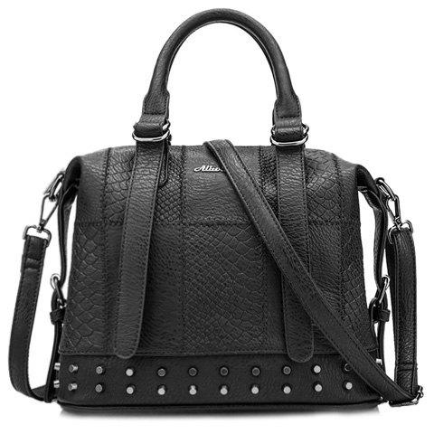 Trendy Rivets and Snake Print Design Tote Bag For Women - BLACK