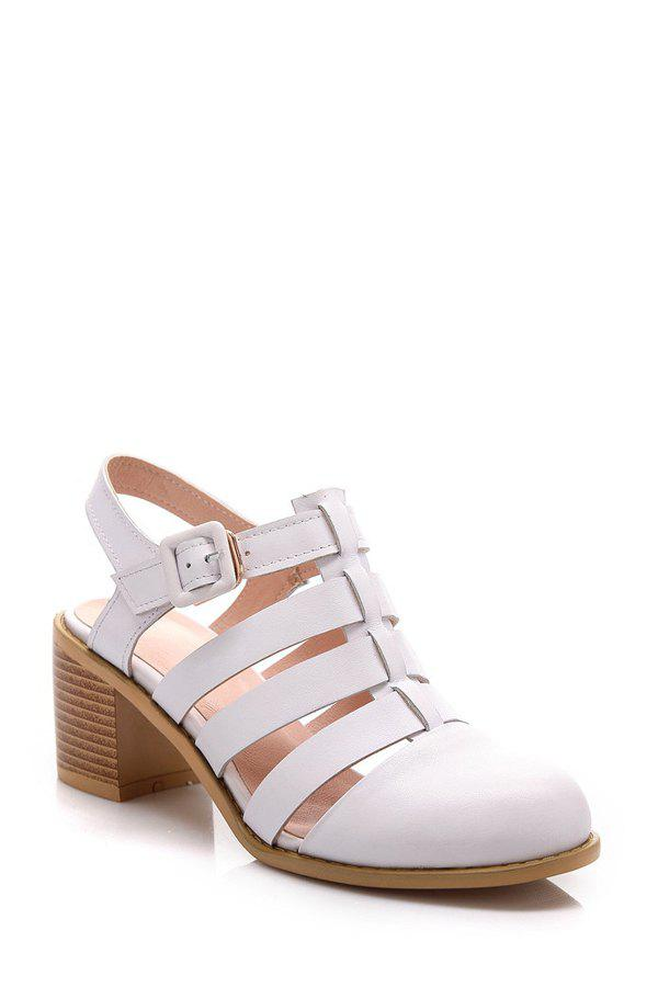 Casual Closed Toe and Chunky Heel Design Sandals For Women - WHITE 38
