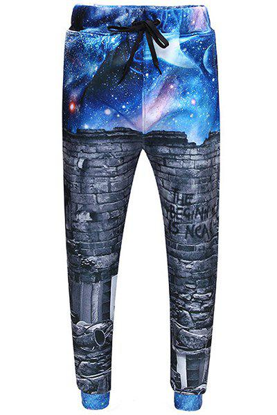 Men's Sports Style Starry Sky Printed Narrow Feet Lace Up Long Pants - BLUE S