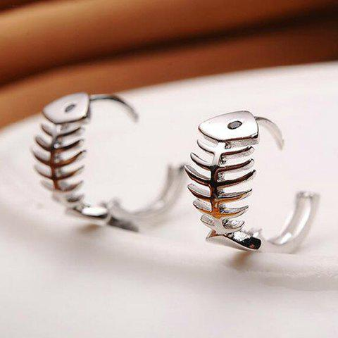 Pair of Fishbone Hoop Earrings - SILVER