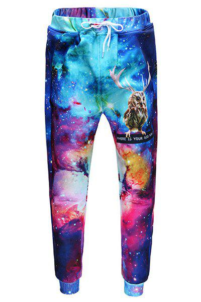 Men's Sports Style Owl Printed Lace Up Narrow Feet Long Pants - COLORFUL XL