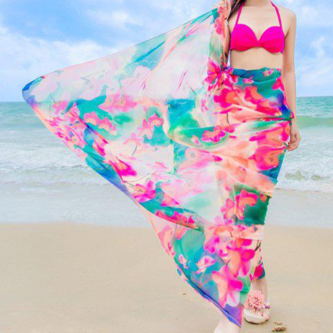 Chic Colorful Flowers Painting Printed Women's Chiffon Sarong - ROSE