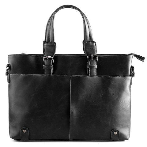 Trendy Solid Colour and Buckles Design Men's Briefcase - BLACK