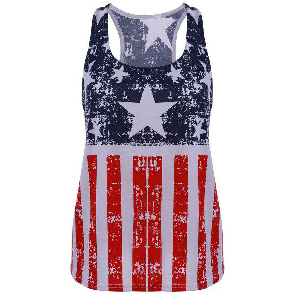 Fashionable Scoop Neck Sleeveless American Flag Print Tank Top