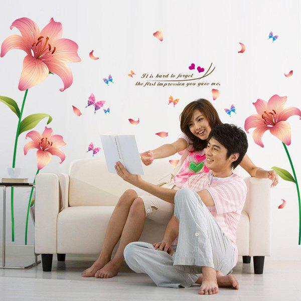 High Quality Pink Lily Pattern Removeable Wall Stickers - COLORMIX
