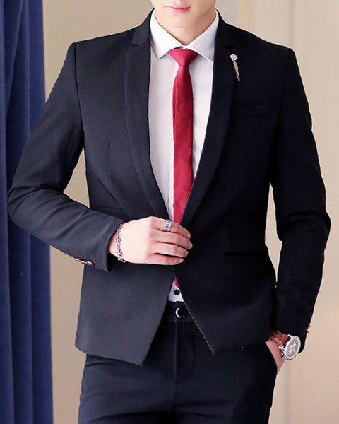 Exquisite Pocket Solid Color Lapel Long Sleeves Men's Blazer - BLACK L