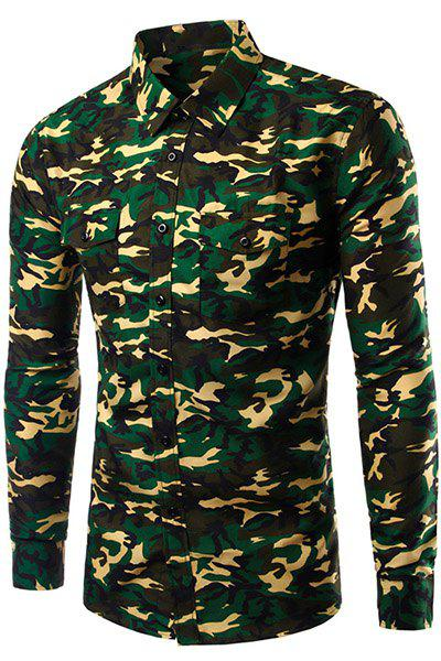 Casual Long Sleeve Turn Down Collar Camo Shirt For Men - CAMOUFLAGE M