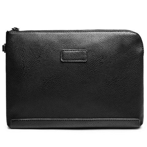 Simple Solid Colour and PU Leather Design Men's Clutch Bag - BLACK