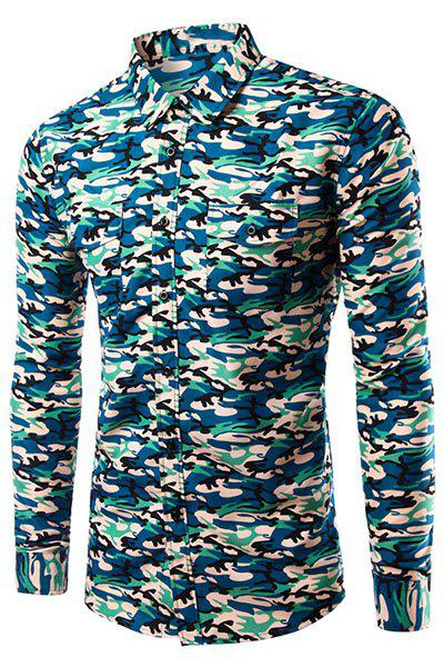 Casual Turn Down Collar Long Sleeves Camo Shirt For Men - CAMOUFLAGE S