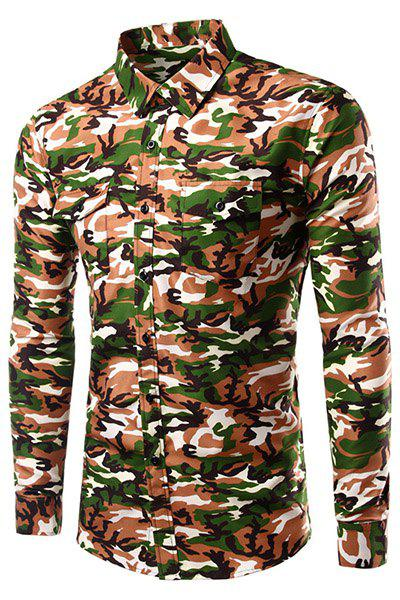 Fashion Long Sleeves Turn Down Collar Camo Shirt For Men - CAMOUFLAGE S