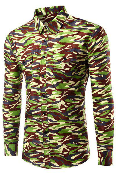 Men's Casual Long Sleeve Turn Down Collar Como Shirt - CAMOUFLAGE 2XL