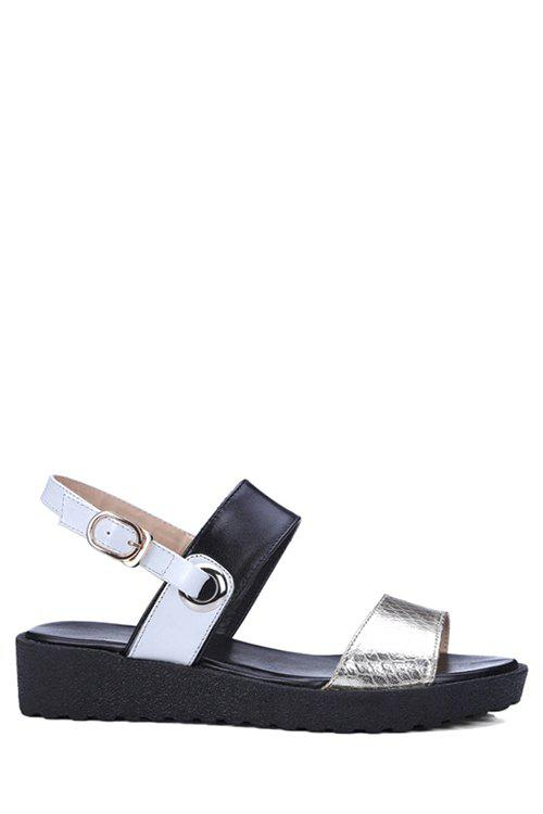 Casual Color Block and Embossing Design Sandals For Women - BLACK 39