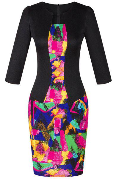 OL Jewel Neck 3/4 Sleeve Colored Printed Women's Faux Twinset Design Dress - COLORMIX M