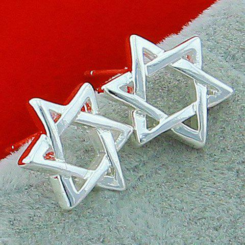 Pair of Hollow Out Star Earrings - SILVER