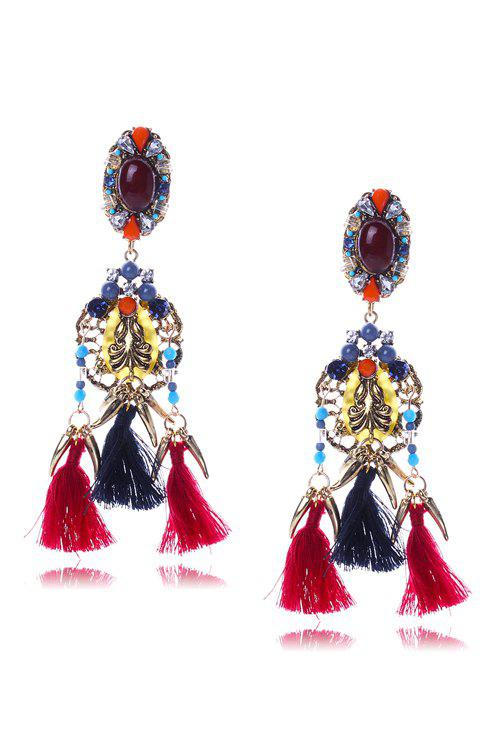 Pair of Retro Colorful Faux Crystal Tassel Earrings For Women