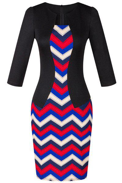 OL Jewel Neck 3/4 Sleeve Wave Printed Women's Faux Twinset Design Dress - COLORMIX M