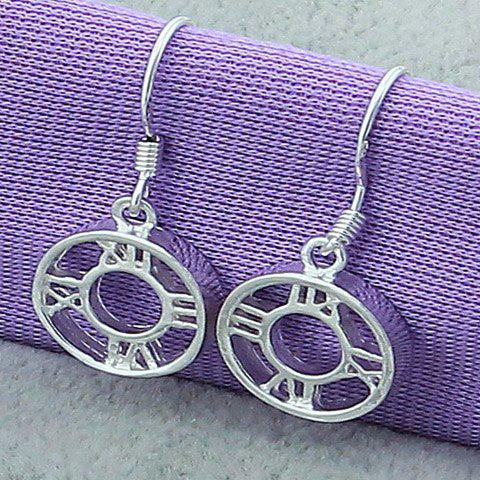 Pair of Roman Numerals Round Drop Earrings - SILVER
