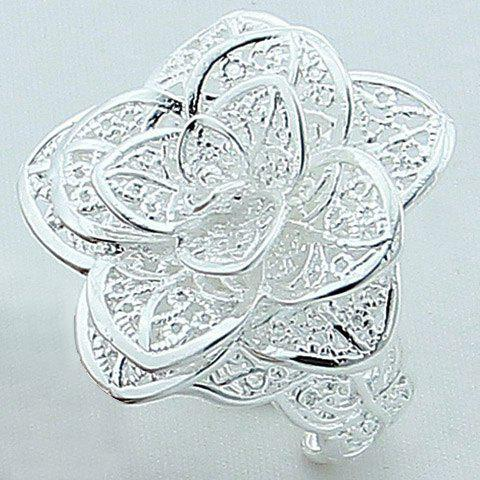 Hollow Out Rose Floral Ring - SILVER ONE-SIZE