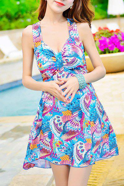 Chic Sleeveless Spaghetti Strap Printed Criss-Cross Women's Swimwear