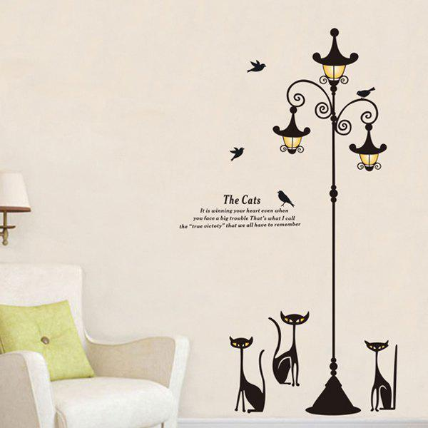High Quality Cat and Street Lamp Pattern Removeable Wall Stickers - BLACK