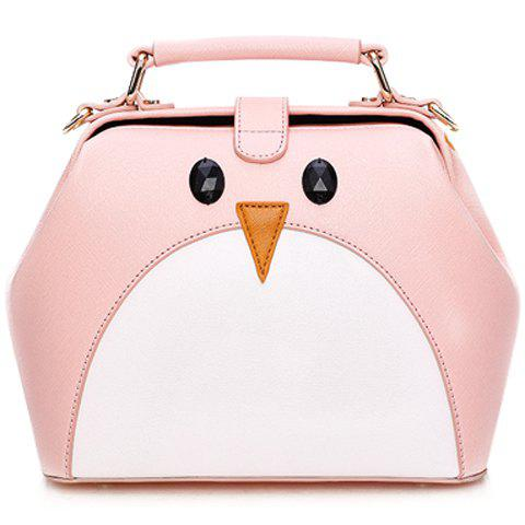 Fresh Style PU Leather and Color Block Design Tote Bag For Women - PINK