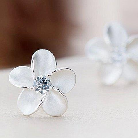 Pair of Blossom Rhinestone Earrings - SILVER