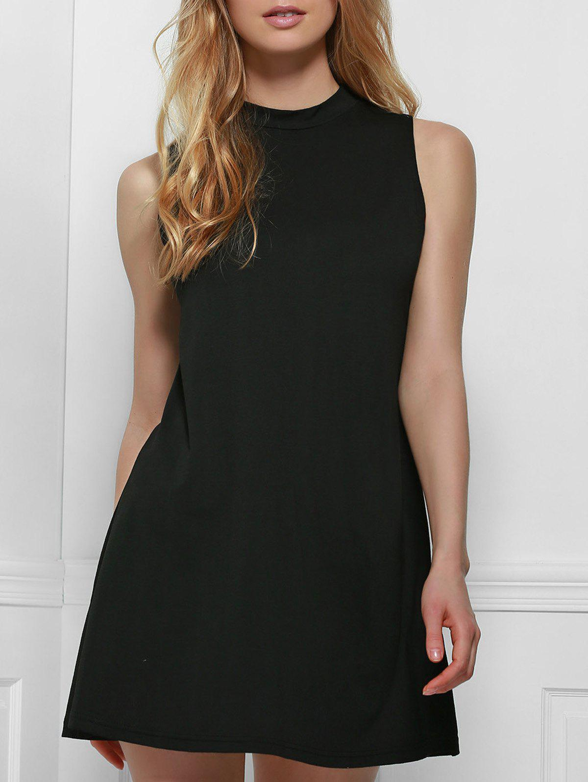 Simple Style Solid Color Stand Collar Tank Top Dress For Women - BLACK M