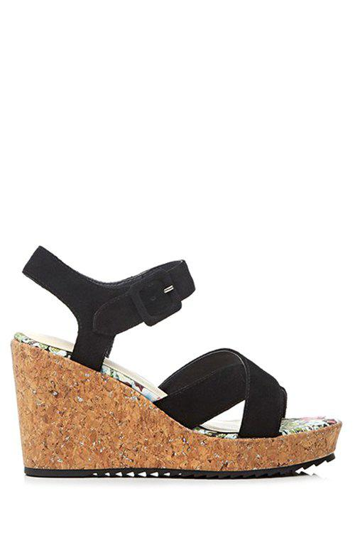 Stylish Cross-Strap and Wedge Heel Design Sandals For Women - BLACK 34