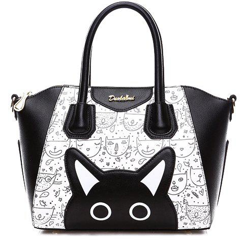 Cute Color Block and Cartoon Pattern Design Tote Bag For Women