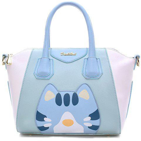 Cute Cartoon Pattern and Color Block Design Tote Bag For Women - AZURE