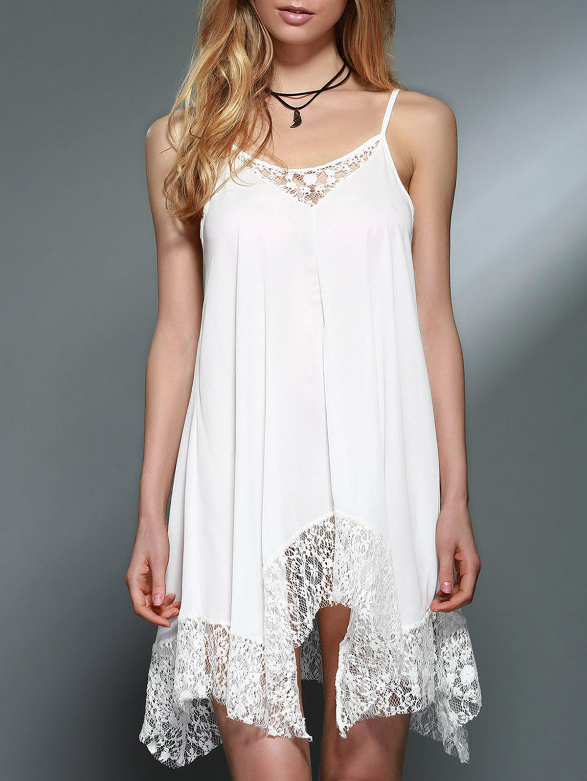 Refreshing Spaghetti Strap Lace Spliced White Handkerchief Dress For Women