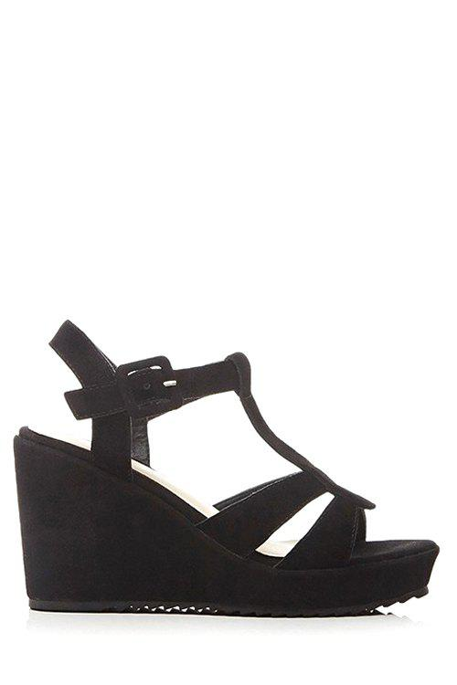 Trendy Wedge Heel and  T-Strap Design Sandals For Women - BLACK 34