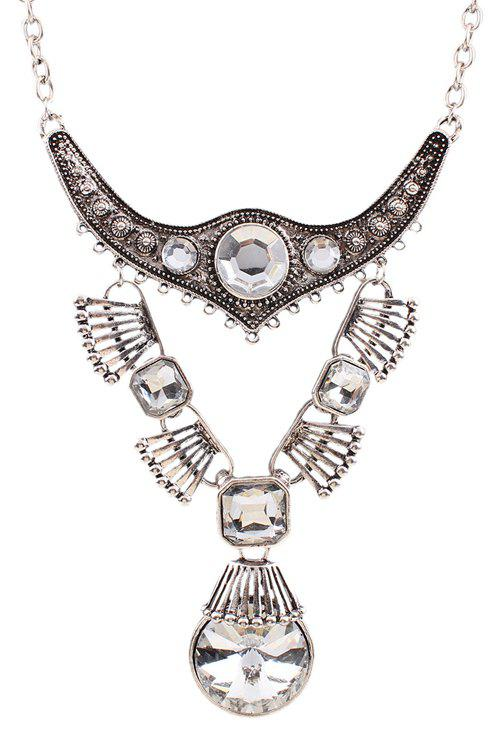 Punk Faux Crystal Water Drop Necklace For Women - SILVER